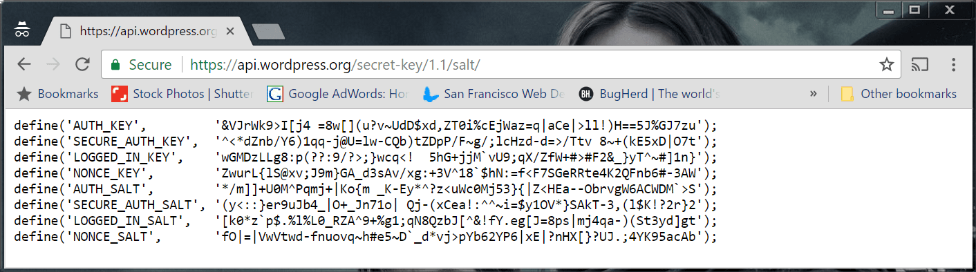 WordPress secret key generator