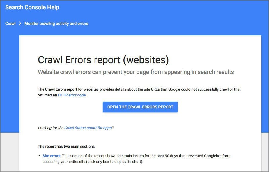 Google Crawl Errors Screen a