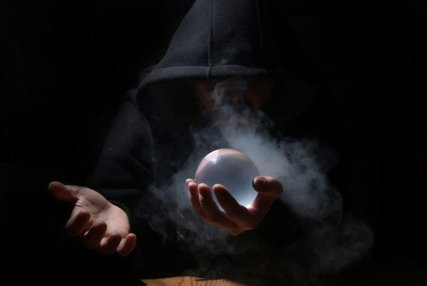 Wordpress Myths - Man holding Crystal Ball