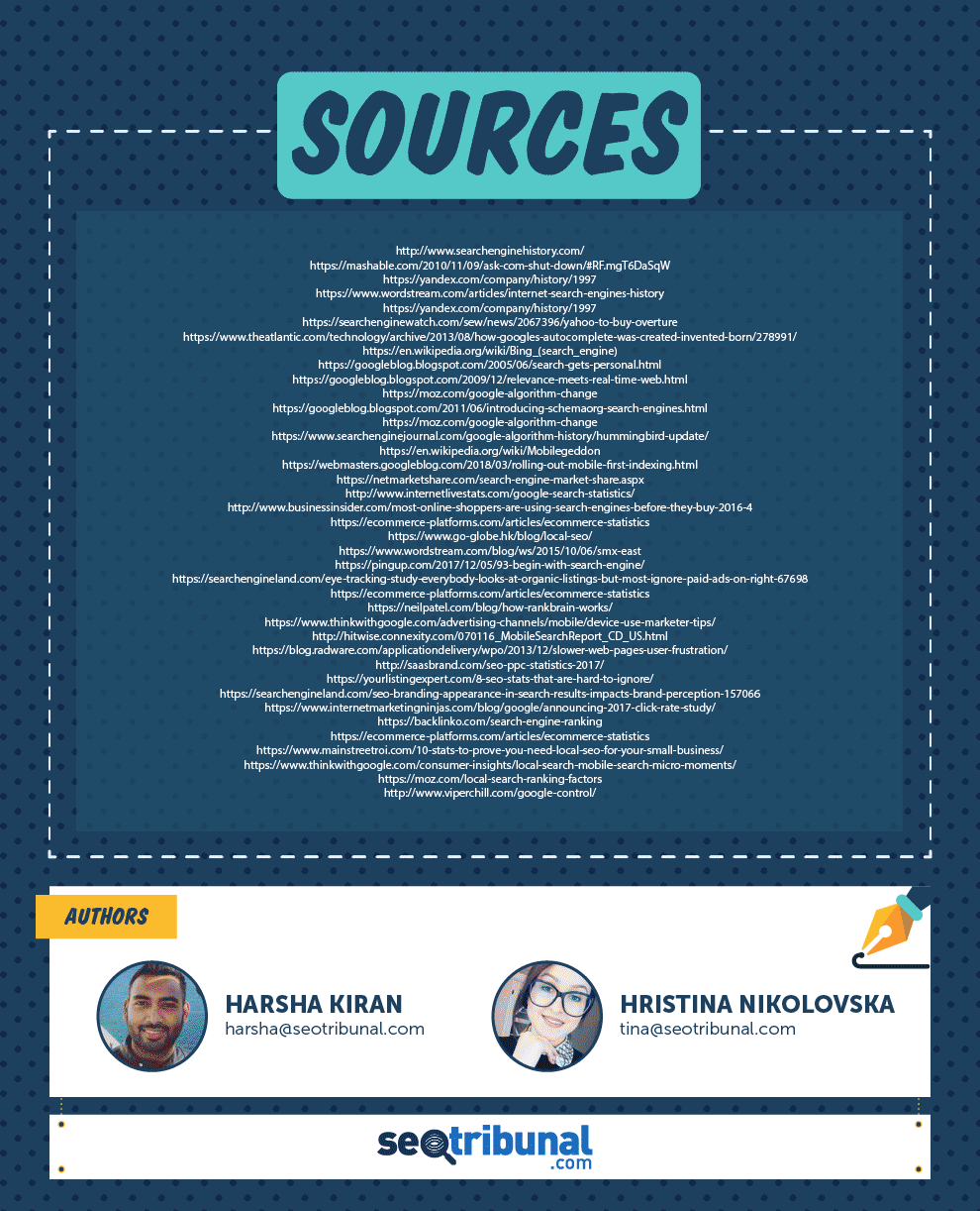 SEO infographic list of sources