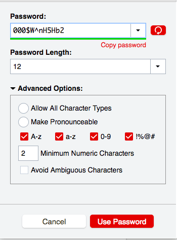 password length and complexity tool in LastPass
