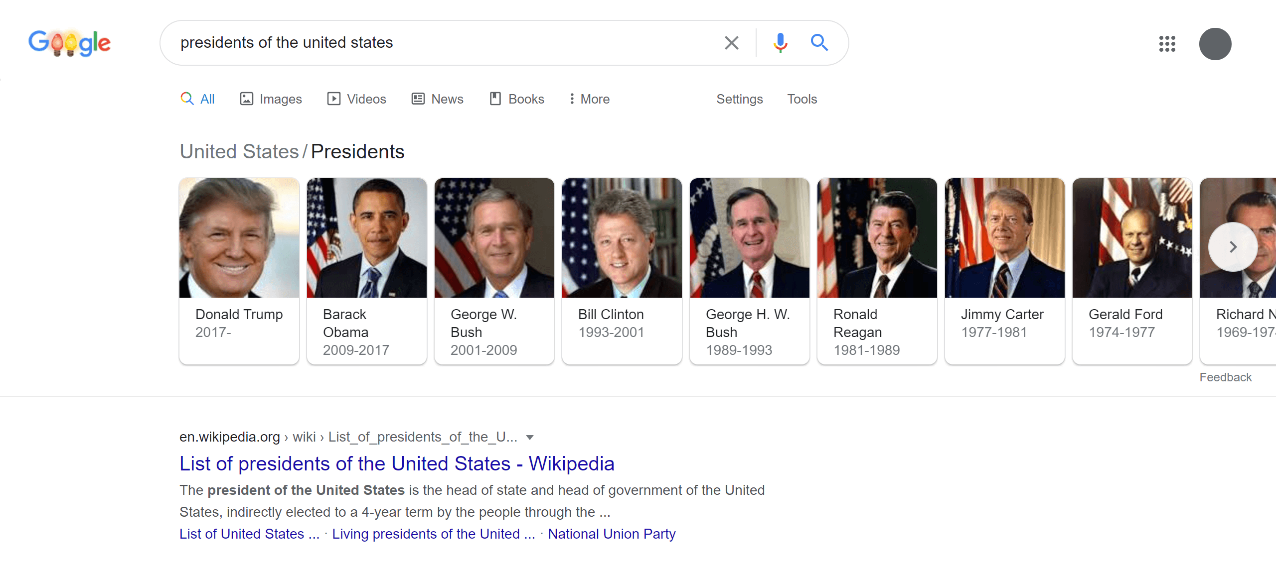 Google Search Result of Presidents of the United States Dec 2020