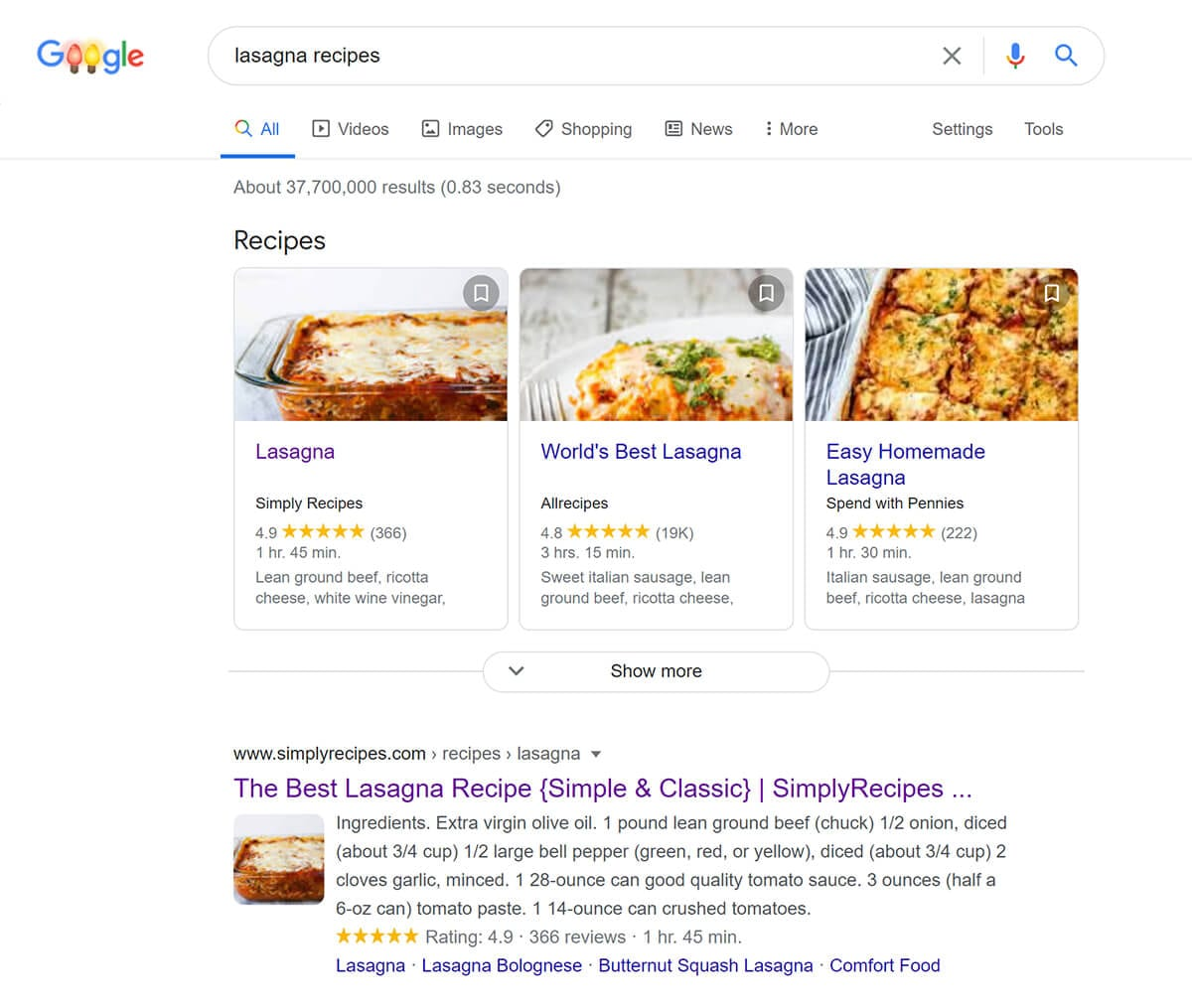Example of how Google uses structured data in search results